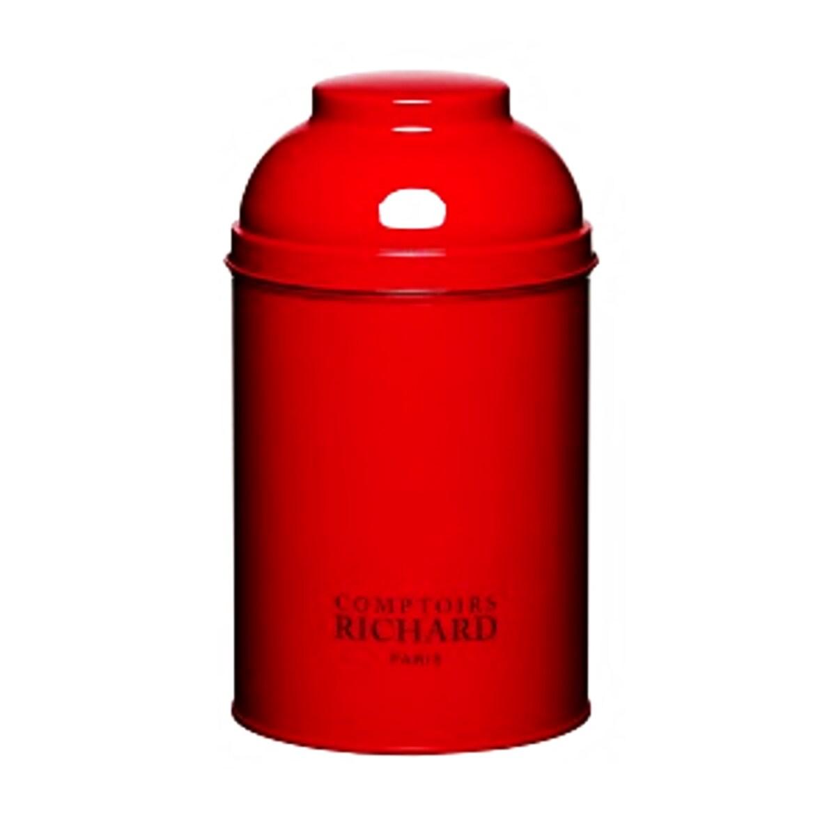 Cutie metalică de culoarea roși pentru ceai Cafes Richard
