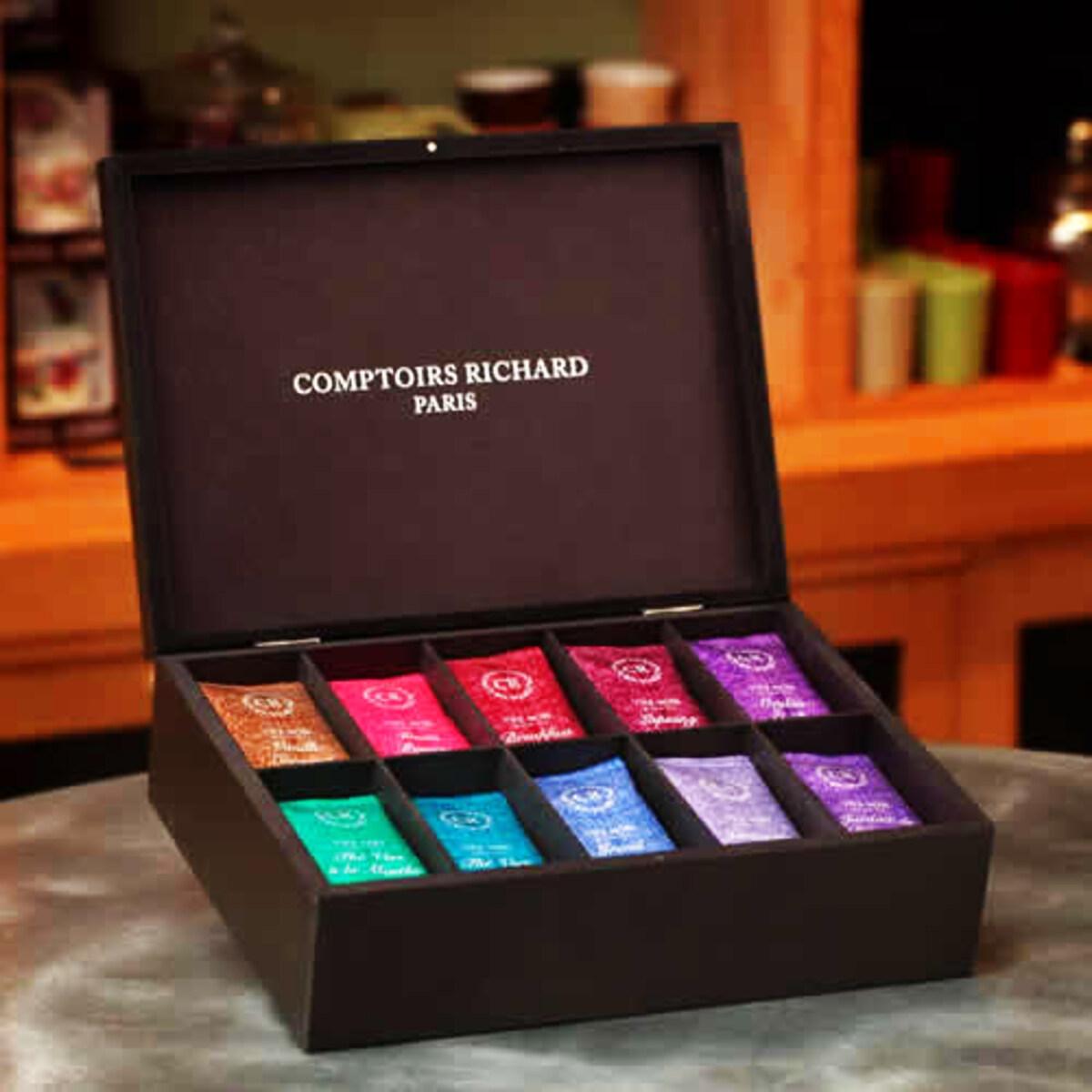 Coffret Thés Comptoirs Richard  - Set de cadou de 100 pliculețe de ceai verde și negru